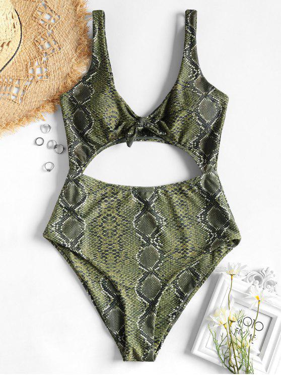 Costume Da Bagno Annodato Tagliato In Pelle Di Serpente - Multi Colori M