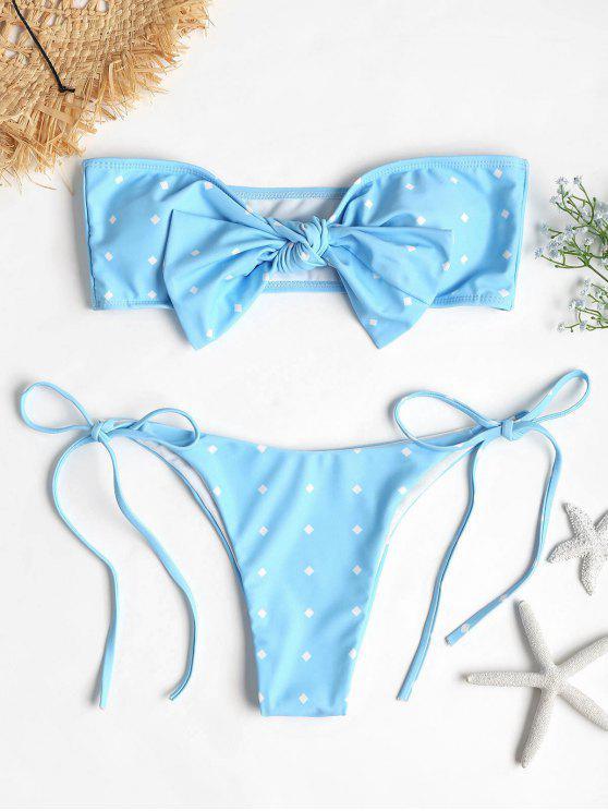 unique Self-tie Knot Bandeau Bikini Set - DAY SKY BLUE L