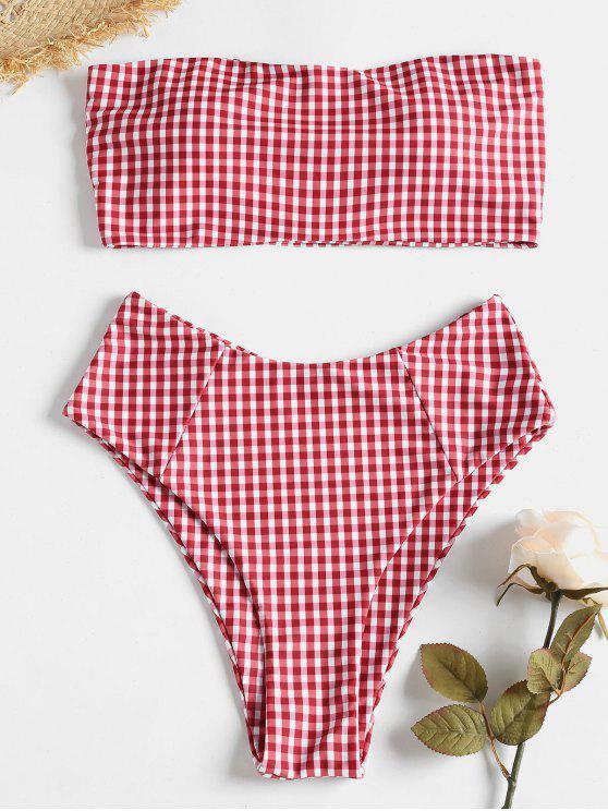 Conjunto de Bikini de Corte Alto y Cuadros Escoceses - Rojo M