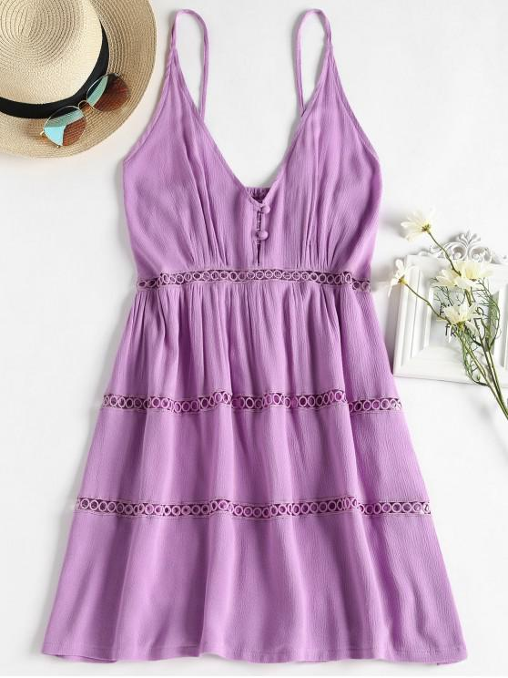 ladies Hollow Out A Line Cami Dress - MAUVE S