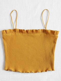 Lettuce Ribbed Cropped Cami Top - School Bus Yellow