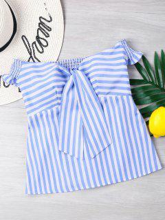 Off Shoulder Shirred Striped Top - Blue S