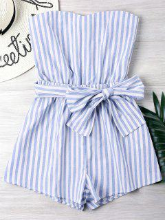 Striped Tube Romper - Light Blue M