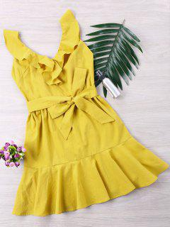 Ruffle Lace Up Skater Dress - Mustard L