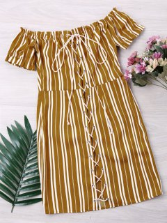 Striped Lace Up Dress - Yellow M
