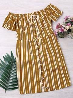 Gestreiftes Kleid Mit Schnur Gebunden - Gelb Xl