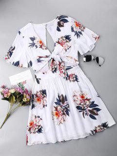Kleid Mit Rückenfrei Vordere  - Weiß Xl