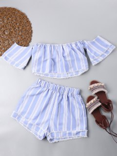 Off Shoulder Crop Top With Tiered Shorts - Light Blue L