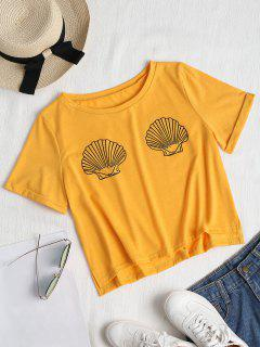 Rolled Up Sleeve Shells Top - Bright Yellow L
