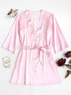 Lace Panel Satin Nacht Robe - Helles Rosa