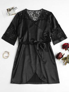 Lace Panel Satin Wrap Nightdress - Black