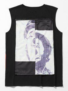 Camo Figure Print Casual Tank Top - Black S