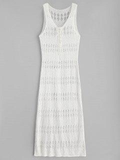 Side Slit Maxi Crochet Beach Dress - Warm White