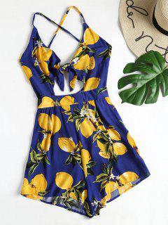 Lemon Print Strappy Tie Front Romper - Navy Blue S