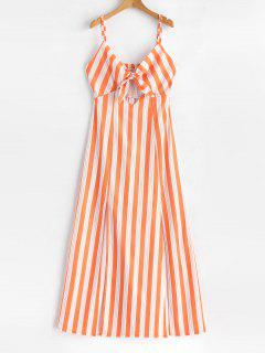 Smocked Tie Front Stripes Maxi Dress - Dark Orange M