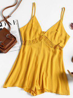 Eyelet Crochet Panel Romper - Bright Yellow L