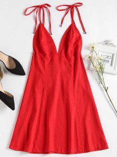 Mini Robe Plongeant à Bretelles - Rouge Amour S