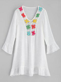 Crochet Panel Ruffles Beach Dress - White