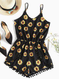 Pompom Sunflower Cami Cute Romper - Black S