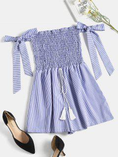 Smocked Striped Cute Romper - Blueberry Blue L