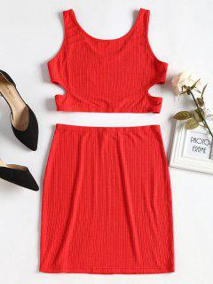 Cut Out Top And Skirt Set - Love Red M