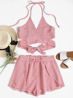 Seersucker Striped Wrap Top And Shorts Set - Bean Red L