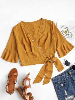 Buttoned Wrap Top - Orange Gold M