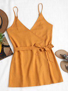 Belted Wrap Mini Dress - Caramel S