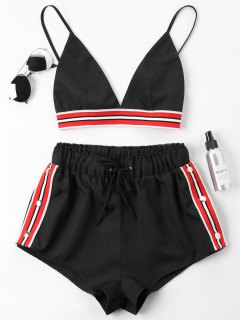 Bra Two Piece Shorts Tracksuit - Black M