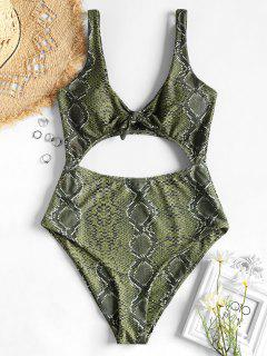 Knotted Snakeskin Cut-Out Swimsuit - Multi L