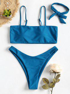 Bandeau High Leg Choker Bikini Set - Blue Eyes L