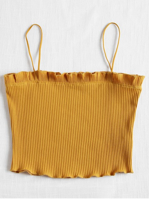 affordable Lettuce Ribbed Cropped Cami Top - SCHOOL BUS YELLOW ONE SIZE Mobile