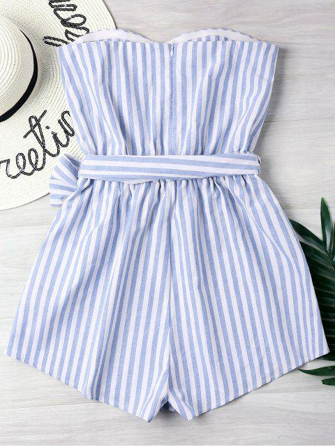 best Striped Tube Romper - LIGHT BLUE L Mobile