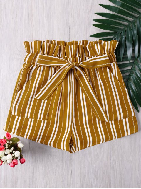 best Ruffle Tie Front Striped Shorts - YELLOW S Mobile
