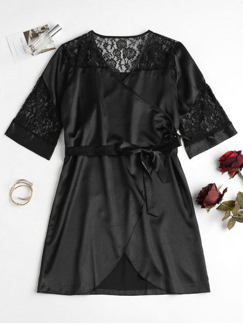 shops Lace Panel Satin Wrap Nightdress - BLACK ONE SIZE Mobile