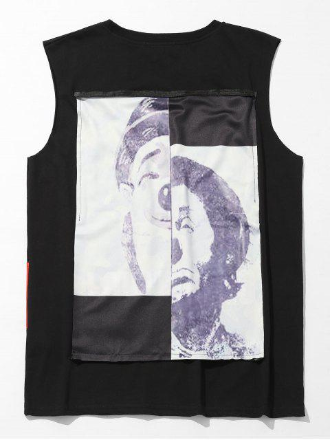 womens Camo Figure Print Casual Tank Top - BLACK 2XL Mobile