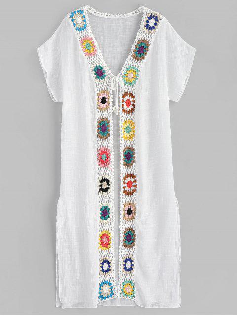 affordable Crochet Trim Slit Longline Kimono - WHITE ONE SIZE Mobile