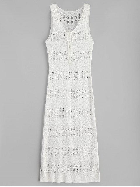 buy Side Slit Maxi Crochet Beach Dress - WARM WHITE ONE SIZE Mobile