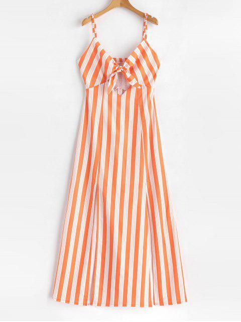 chic Smocked Tie Front Stripes Maxi Dress - DARK ORANGE S Mobile