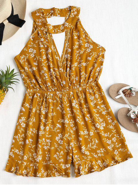 buy Cute Floral Cutout Choker Romper - ORANGE GOLD S Mobile
