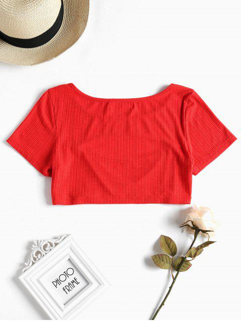 sale Cut Out Crop Tee - LOVE RED M Mobile