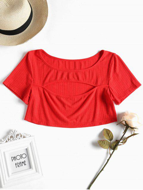 affordable Cut Out Crop Tee - LOVE RED L Mobile
