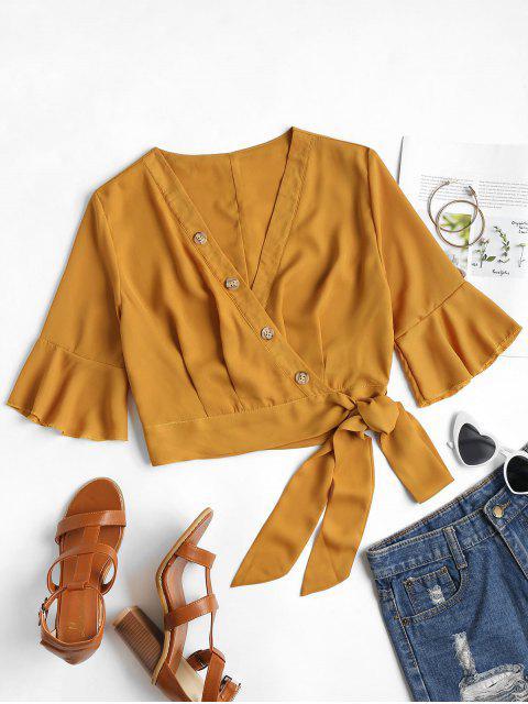 ladies Buttoned Wrap Top - ORANGE GOLD S Mobile