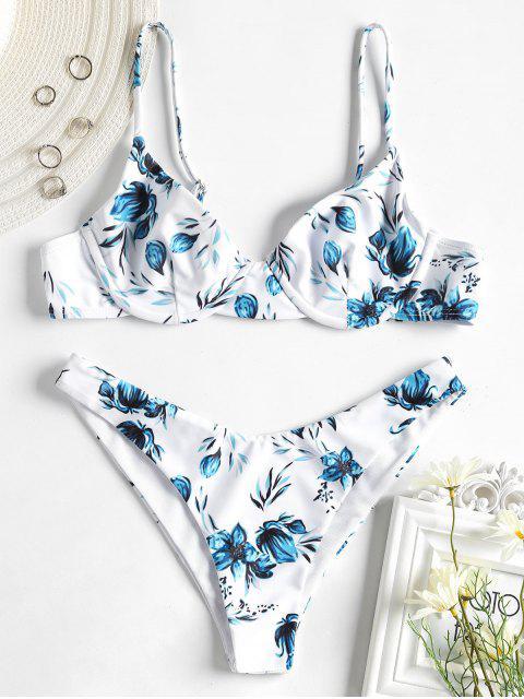Bikini con estampado de flores y aro - Blanco L Mobile