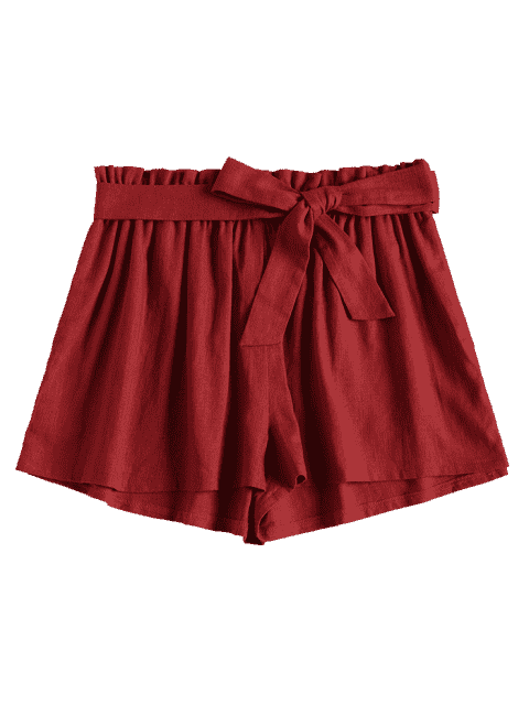 Short à Taille Haute à Jambes Larges - Châtaigne Rouge M Mobile