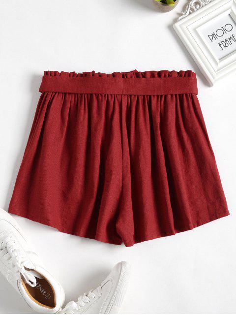 Short à Taille Haute à Jambes Larges - Châtaigne Rouge L Mobile