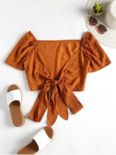 unique Bow Tie Front Crop Top - BROWN L Mobile