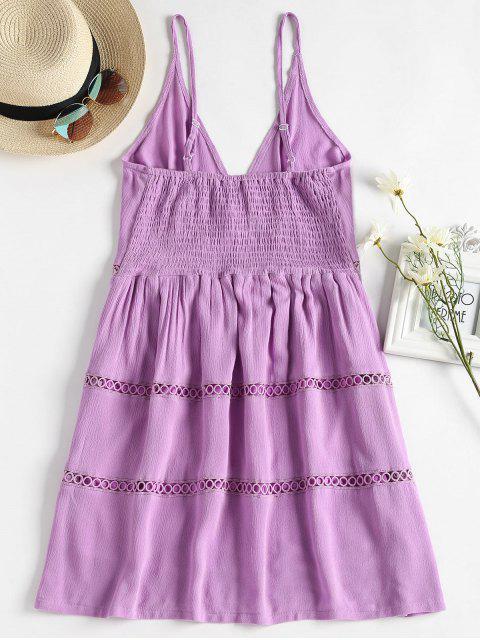 ladies Hollow Out A Line Cami Dress - MAUVE S Mobile