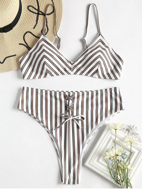 online Striped Lace-Up High Waisted Bikini Set - MULTI S Mobile