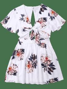 Vestido S Abierto Delantero Blanco Con Lazo 0wX0Bqr